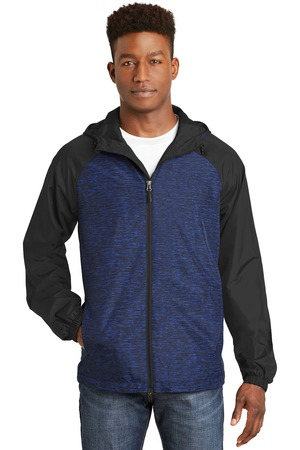 Sport-Tek Heather Colorblock Raglan Hooded Wind Jacket – True Royal Heather/Black