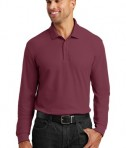 Port Authority Long Sleeve Core Classic Pique Polo Style K100LS - Burgundy - Model