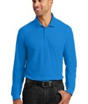 Port Authority Long Sleeve Core Classic Pique Polo Style K100LS - Coastal Blue - Model