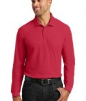 Port Authority Long Sleeve Core Classic Pique Polo Style K100LS - Rich Red - Model