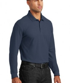 Port Authority Long Sleeve Core Classic Pique Polo Style K100LS - River Blue Navy - Model