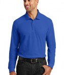 Port Authority Long Sleeve Core Classic Pique Polo Style K100LS - True Royal - Model