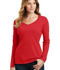 District Ladies Fan Favorite V-neck Tee - Bright Red