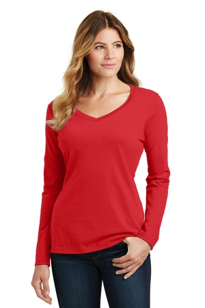 District Ladies Fan Favorite V-neck Tee – Bright Red