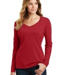 District Ladies Fan Favorite V-neck Tee - Team Cardinal