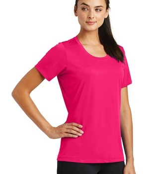 Sport-Tek® Ladies PosiCharge® Tough Tee – Pink Raspberry – Front