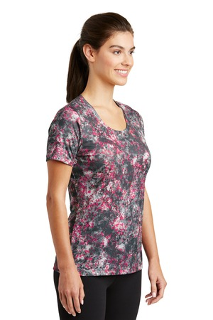 Sport-Tek Ladies Mineral Freeze Tee – front – Pink Raspberry