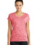 Sport-Tek Ladies PosiCharge® Electric Heather Tee - Deep Red Electric
