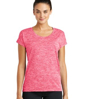 Sport-Tek Ladies PosiCharge® Electric Heather Tee – Power Pink Electric