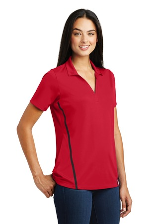 Sport-Tek Ladies Contrast PosiCharge Tough Polo Style LST620 – Deep Red/Black – Model