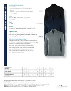 Men's Adventure Jacket (9087) Colors and Sizes