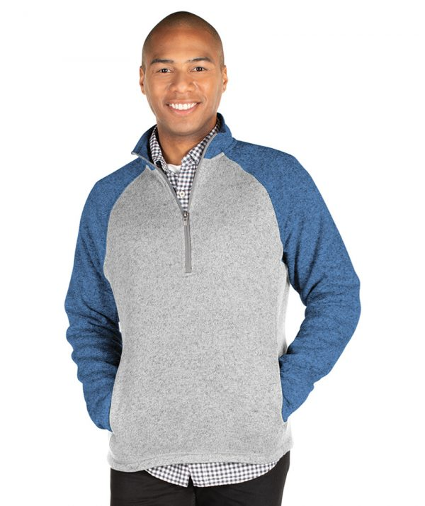 Men's Quarter Zip Color Blocked Heathered Fleece 9014 - Light Grey Heather Blue Heather Model