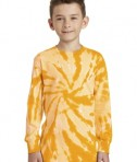 Port & Company Youth Long Sleeve Tie-Dye Tee - Front - Gold