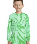 Port & Company Youth Long Sleeve Tie-Dye Tee - Front - Kelly