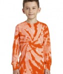 Port & Company Youth Long Sleeve Tie-Dye Tee - Front - Orange