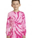 Port & Company Youth Long Sleeve Tie-Dye Tee - Front - Pink
