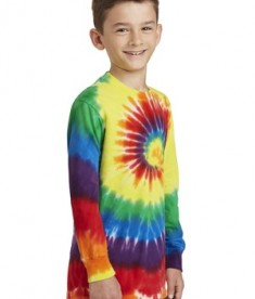 Port & Company Youth Long Sleeve Tie-Dye Tee - Front - Rainbow