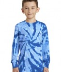 Port & Company Youth Long Sleeve Tie-Dye Tee - Front - Royal