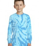 Port & Company Youth Long Sleeve Tie-Dye Tee - Front - Turquoise