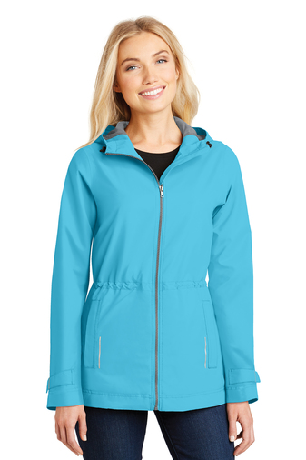 Port Authority Ladies Northwest Slicker Rain Jacket L7710 Isla Blue Model