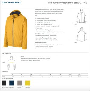 Porth Authory J7710 Spec Sheet