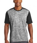 Sport-Tek PosiCharge Electric Heather Colorblock Tee - Front - Black Electric/Black