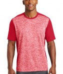 Sport-Tek PosiCharge Electric Heather Colorblock Tee - Front - Deep Red Electric/Deep Red