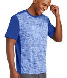 Sport-Tek PosiCharge Electric Heather Colorblock Tee - Front - True Royal Electric/True Royal