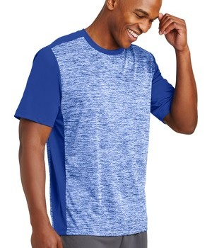 Sport-Tek PosiCharge Electric Heather Colorblock Tee – Front – True Royal Electric/True Royal