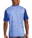 Sport-Tek PosiCharge Electric Heather Colorblock Tee - Back - True Royal Electric/True Royal