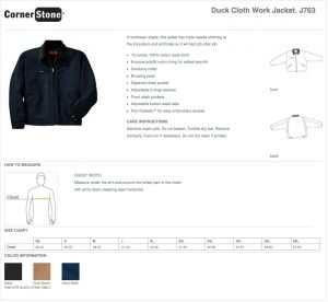 Size Chart for the CornerStone Duck Cloth Work Jacket J763