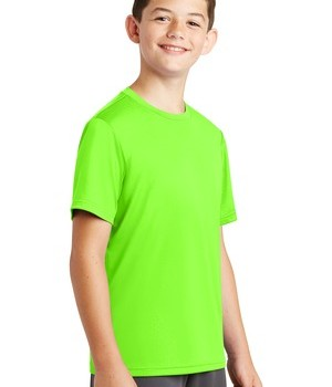 Sport-Tek Youth PosiCharge Tough Tee – front – Neon Green