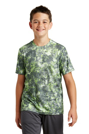 Sport-Tek Youth Mineral Freeze Tee – Lime Shock – Front