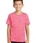 Sport-Tek Youth Posicharge Electric Heather Tee - Power Pink Electric - Model