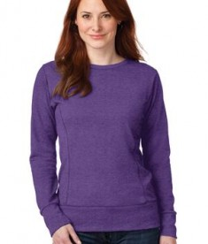 Anvil Ladies French Terry Crewneck Sweatshirt Style 72000L Heather Purple