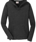 Anvil Ladies French Terry Pullover Hooded Sweatshirt Style 72500L Heather Dark Grey Front Flat
