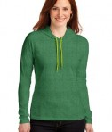 Anvil Ladies 100% Ring Spun Cotton Long Sleeve Hooded T-Shirt Style 887L Heather Green/Neon Yellow