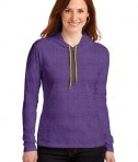 Anvil Ladies 100% Ring Spun Cotton Long Sleeve Hooded T-Shirt Style 887L Heather Purple/Neon Yellow
