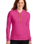 Anvil Ladies 100% Ring Spun Cotton Long Sleeve Hooded T-Shirt Style 887L Hot Pink/Neon Yellow