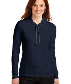 Anvil Ladies 100% Ring Spun Cotton Long Sleeve Hooded T-Shirt Style 887L Navy/Dark Grey