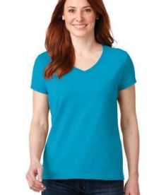 Anvil 88vl Ladies Cotton Neck Caribbean Blue