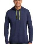 Anvil 987 Long Sleeve Hooded T-Shirt Heather Blue Neon Yellow