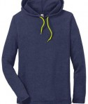 Anvil 987 Long Sleeve Hooded T-Shirt Heather Blue Neon Yellow Front Flat