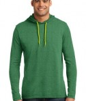 Anvil 987 Long Sleeve Hooded T-Shirt Heather Green Neon Yellow