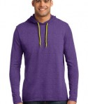 Anvil 987 Long Sleeve Hooded T-Shirt Heather Purple Neon Yellow