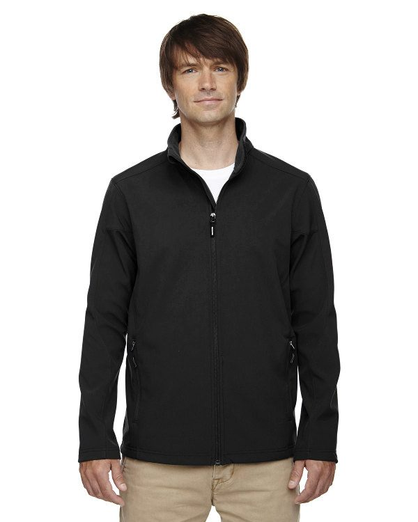 Ash City - Core 365 Men's Tall Cruise Two-Layer Fleece Bonded Soft Shell Jacket Black
