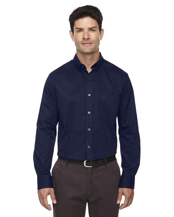 Ash City - Core 365 Men's Tall Operate Long-Sleeve Twill Shirt Classic Navy