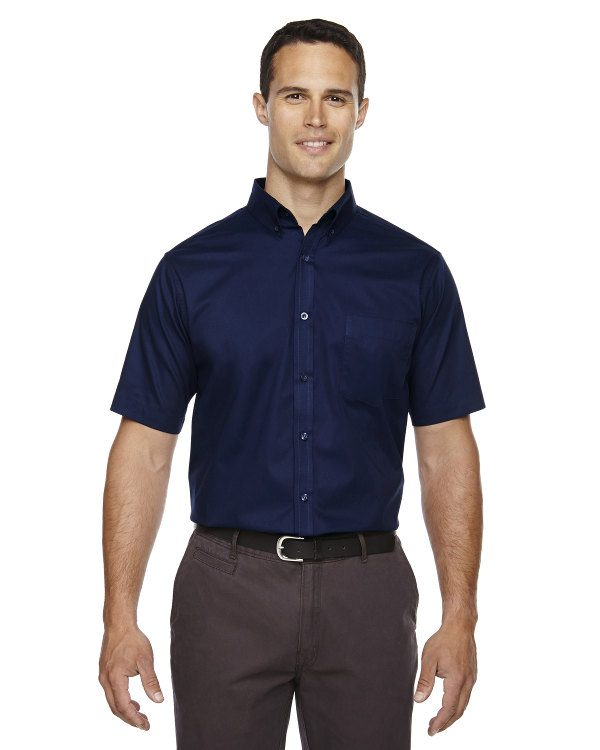 Ash City - Core 365 Men's Tall Optimum Short-Sleeve Twill Shirt Classic Navy