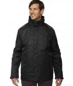 Ash City - Core 365 Men's Tall Region 3-in-1 Jacket with Fleece Liner Black
