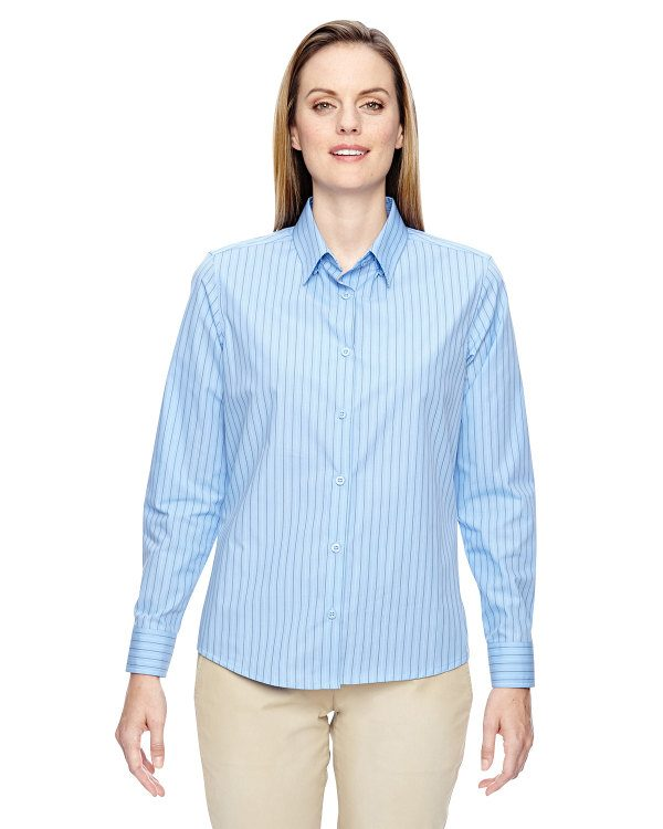 Ash City - North End Ladies' Align Wrinkle-Resistant Cotton Blend Dobby Vertical Striped Shirt Light Blue